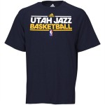 adidas Utah Jazz On Court Practice Heathered ClimaLITE Performance T-Shirt - Navy Blue