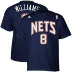 adidas Deron Williams New Jersey Nets #8 Net Number T-shirt - Navy Blue
