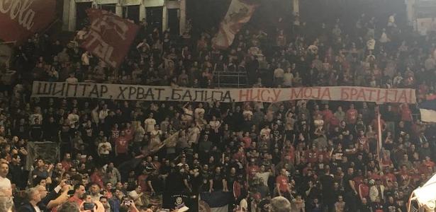 crvena zvezda fans banner against alen omic